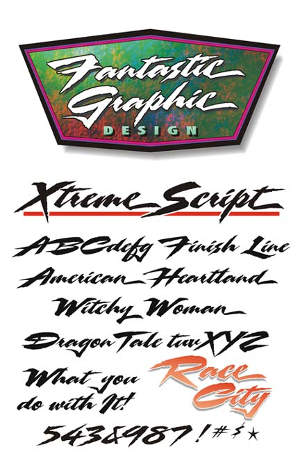 Xtreme Script, hand lettered script fonts for vinyl graphics and